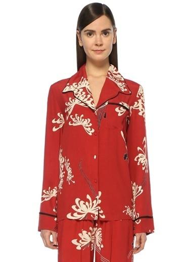 McQ Alexander McQueen Kelebek Yaka Çiçekli Gömlek Kırmızı